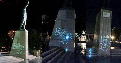 Азербайджанская трагикомедия: Автора граффити принуждали извиниться перед памятником Гейдару Алиеву