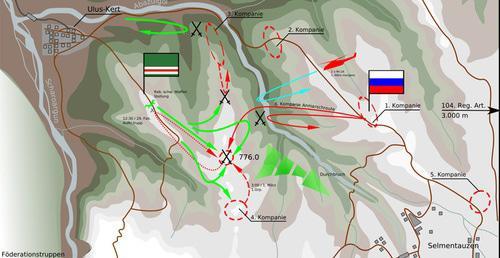 Карта боя 29 февраля - 1 марта 2000 года в районе селения Улус-Керт в Шатойском районе Чечни. Фото: Alexpl https://ru.wikipedia.org