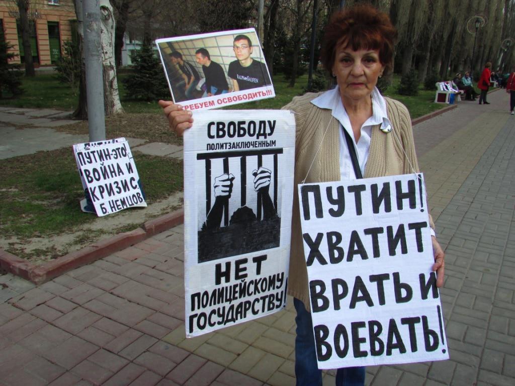 Галина Тихенко на пикете в Волгограде 13 апреля 2019 года. Фото Вячеслава Ящено для  Кавказского узла