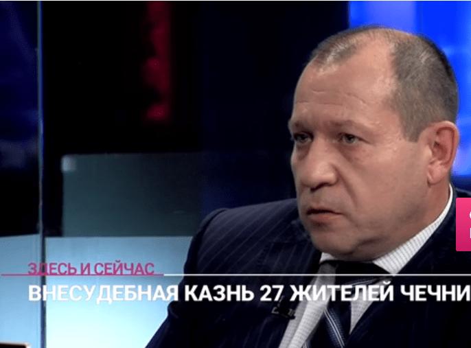 Скриншот видео интервью Игоря Каляпина о внесудебных казнях в Чечне. 23 июля 2019 года. https://tvrain.ru/teleshow/vechernee_shou/kaljapin-490114/?fbclid=IwAR13fgB-IGSR1reYC9o4bXjz5vp5oHsf1_iys1rFrc923oT2CThnPsGsY_k