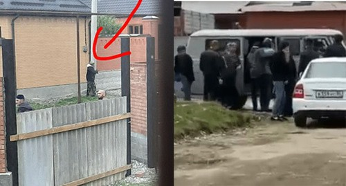 "Жители Самашек рассказали об избиениях нарушителей карантина. Коллаж ""Кавказского узла"" Скриншот видео https://t.me/IADAT/706"