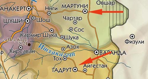 Мартуни и Гадрут на карте Нагорного Карабаха. https://www.kavkaz-uzel.eu/articles/354792/