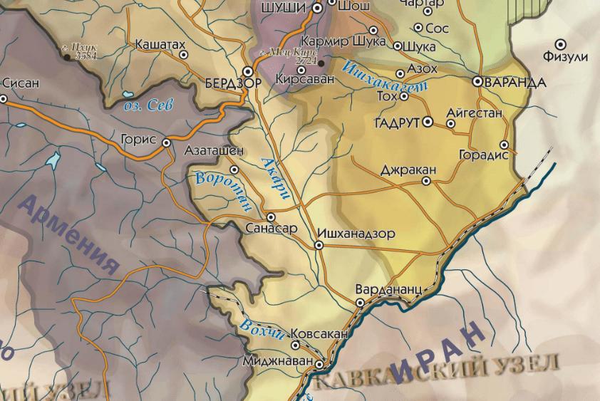 Джракан (Джебраил) на карте Нагорного Карабаха. https://www.kavkaz-uzel.eu/articles/354792/