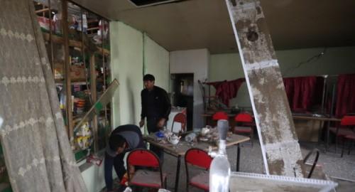 """Взрыв повредил местное кафе. Фото Азиза Каримова для """"Кавказского узла""""."""