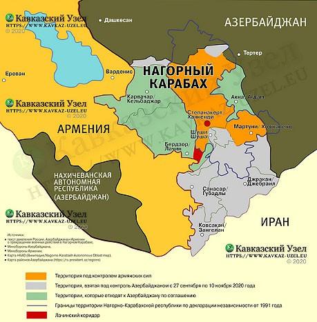 """Карта по соглашению о перемирии, подготовленная """"Кавказским узлом""""."""
