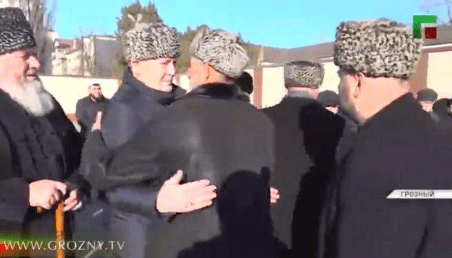 Церемония примирения ингушских и чеченских тейпов в Грозном 7 января 2021 года. Стоп-кадр видео https://www.instagram.com/p/CJypg7epIxu/