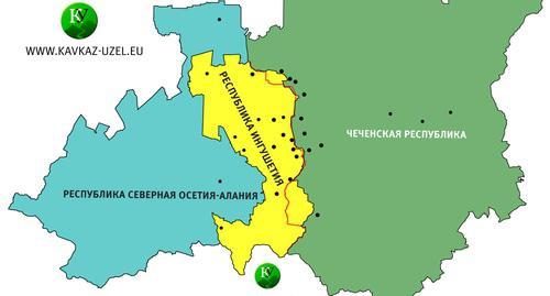 Карта с обозначением границы между Чечней и Ингушетией в соответствии с соглашением об обмене территориями.